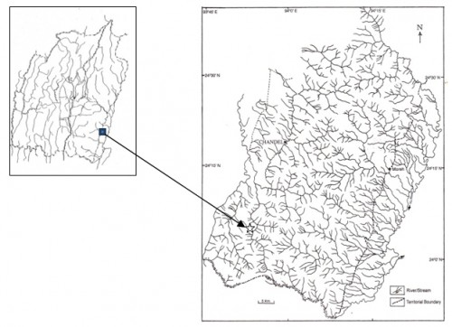 "Map of Manipur, India showing the type locality of <em>Opsarius sajikensis</em> sp. nov. indicated by star (<strong><img width=""18"" height=""18"" src=""file:///C:/Users/gupta/AppData/Local/Temp/msohtmlclip1/01/clip_image001.png"" v:shapes=""_x0000_s1026""></strong>) symbol"
