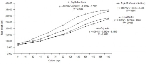 Grow tendency curves of total length of plants of <em>C. annuum</em> with four experimental fertilizers.