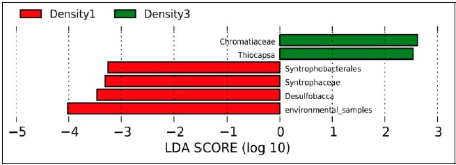 Bacterial clades, showing statistically significant and biological consistent microbial differences in P1 and P3Fish densities