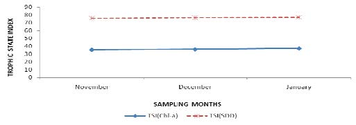 Monthly trophic state indices calculated from Secchi disk transparency (SDD) and Chlorophyll-a (Chl-a) for Kuinet (chepkongi) dam.